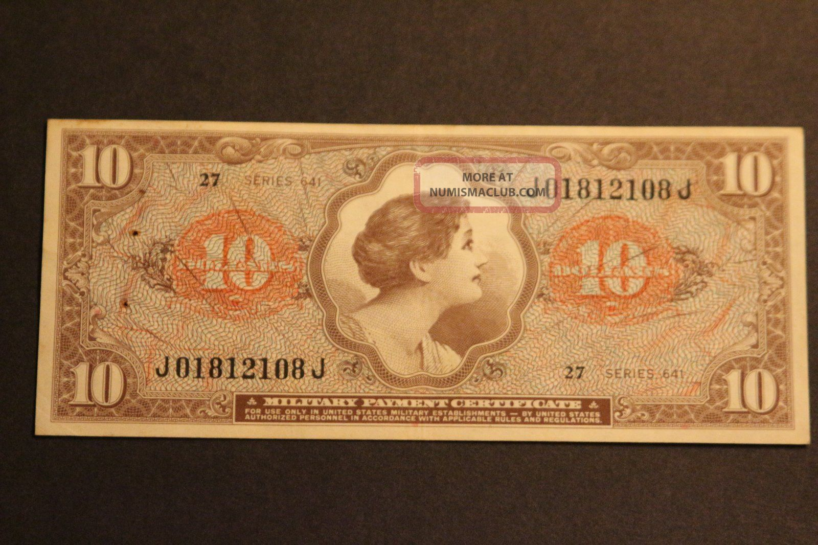 Us Ten Dollers Military Payment Certificate Series 641 Xf Circulated Note Paper Money: US photo