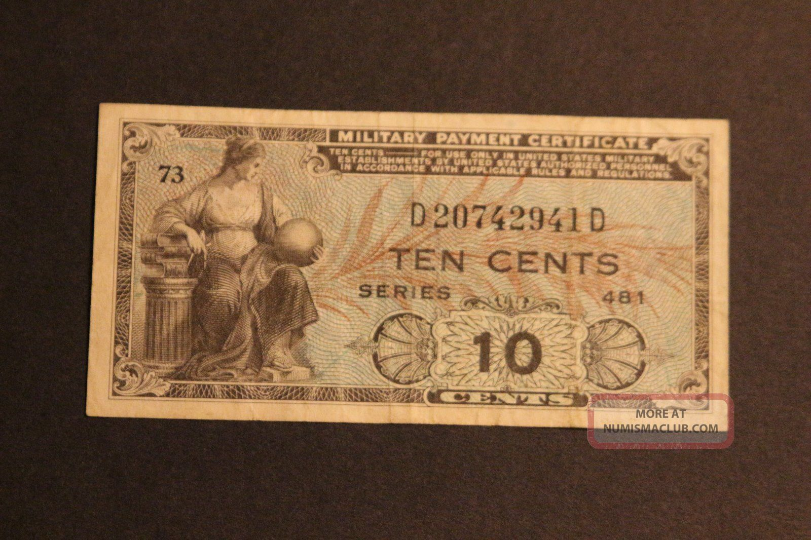 Us 10 Cents Military Payment Certificate Series 481 Vf Circulated Note