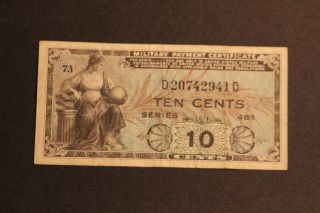 Us 10 Cents Military Payment Certificate Series 481 Vf Circulated Note photo