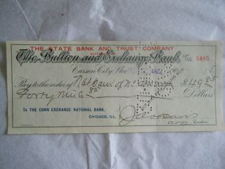 The Bullion And Exchange Bank Check Carson City Nv - Nov 22,  1902 photo