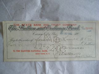The Bullion And Exchange Bank Check Carson City Nv - Oct 27,  1903 photo