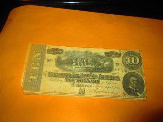 Circulated 1964 Confederate States Of America Ten Dollar Bill photo