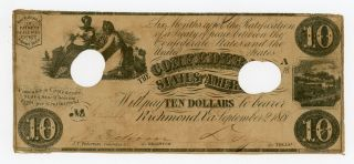 1861 T - 28 $10 The Confederate States Of America Note - Civil War Era photo