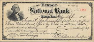 First National Bank,  Erie,  Il Check 1912 George Washington photo
