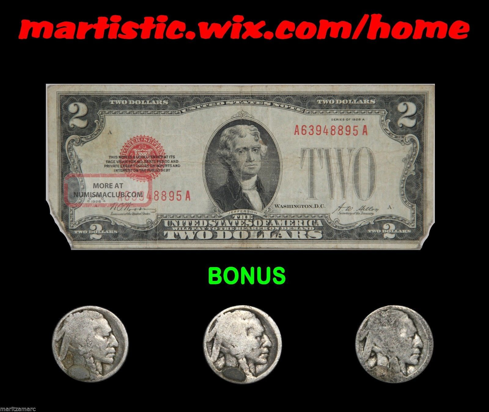 1928 - A $2 Us Red Seal Note Plus Bonus Buffalo Nickel