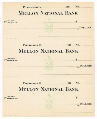 Mellon National Bank Bank Checks - Pittsburgh,  Pa Pennsylvania Early 1900 ' S photo