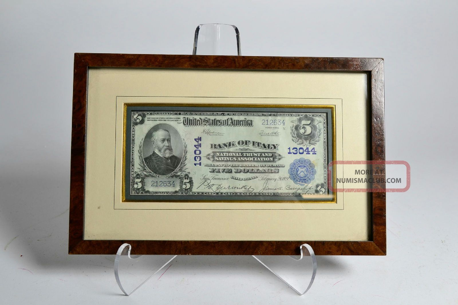 Desirable 1902 Bank Of Italy Ca National Currency Plain Back $5 San Francisco Paper Money: US photo