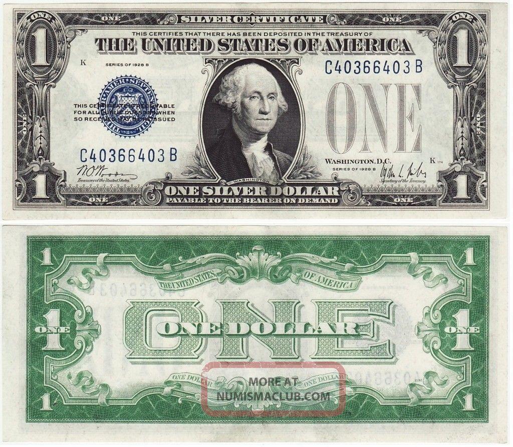 1928 - B Funny Back$1 Dollar Bill Old Us Paper Money