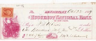 Very Old 1869 The Huguenot National Bank,  Platz,  York,  Revenue photo