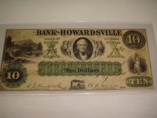 1861 $10 The Bank Of Howardsville Obsolete Note July 8th 1861 Howardsville,  Va F photo