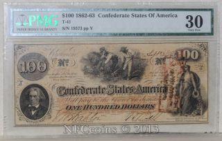 T - 41 $100 1862 - 63 Confederate States Of America Vf30 Pmg photo