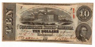 1863 $10 T - 59 The Confederate States Of America Civil War Era Au / Unc. photo