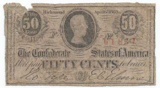 1863 50c Cent Confederate Civil War Note T - 63 5th Issue Circulated Americana photo