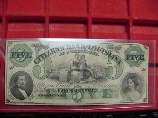 Obsolete Currency $5 Citizens Bank Of Louisiana Shreveport Civil War? photo
