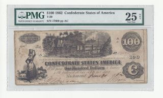 1862 $100 Confederate States Of America Pmg Cert.  Vf25 photo
