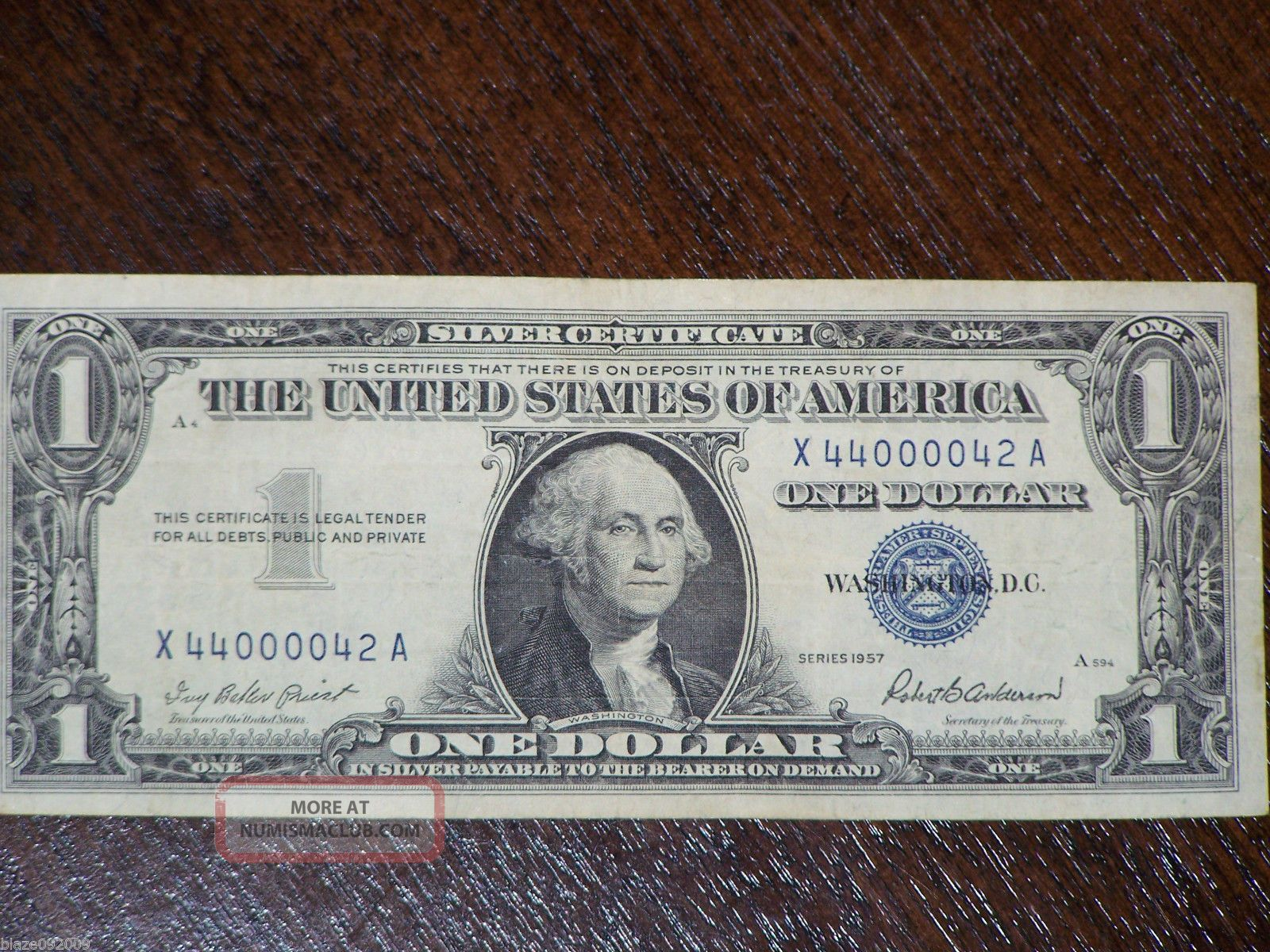 1957 One Dollar Silver Certificate Circulated Very Neat Serial Number