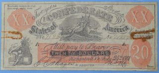 $20 Confederate States Of America / Csa Note Richmond July 25,  1861 C1142 photo