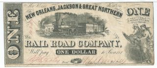 Louisiana Orleans Jackson & Great Northern Rail Road $1 1861 Red 10259 A photo
