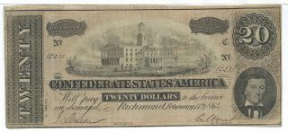 Csa 1864 Confederate Currency T67 $20 Bank Note Xf Plate C Capital 12211 A photo