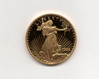 1933 $20 Gold Double Eagle Proof Replica Layered In 24k Gold photo