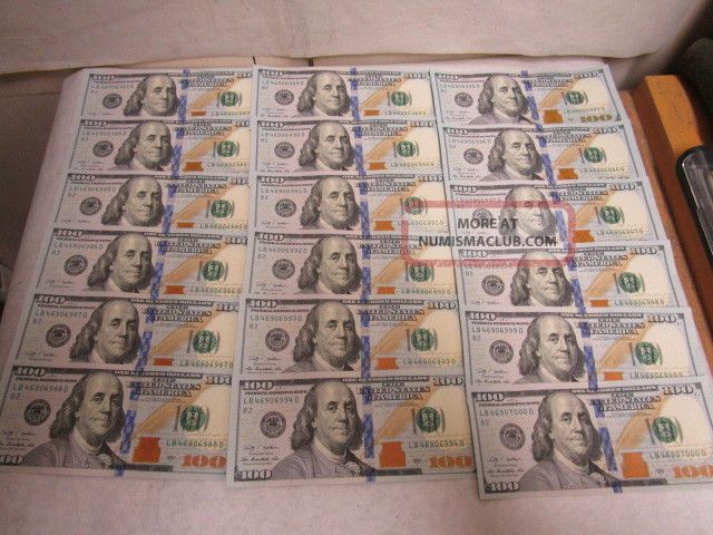18 Us $100 Dollar Bills Series 2009 A Consecutive Sequential Numbers - Estate Small Size Notes photo