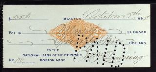 1899 National Bank Of The Republic - Boston,  Mass - C/w Revenue Stamp photo