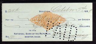 1899 National Bank Of The Republic - Boston,  Mass - C/w Revenue Stamp photo
