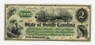 1873 $2 The State Of South Carolina Note photo