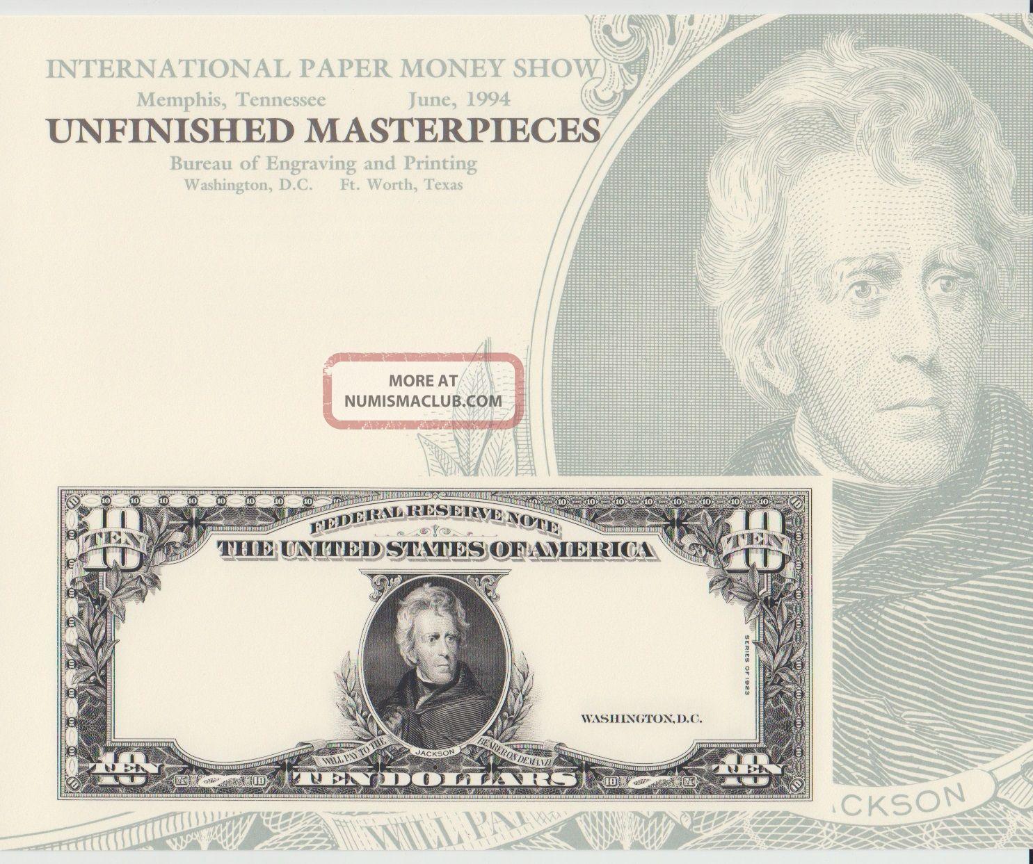 Bep Souvenir Card B184 Ipms $10 Federal Reserve Note Jackson 1994 Paper Money: US photo