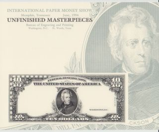 Bep Souvenir Card B184 Ipms $10 Federal Reserve Note Jackson 1994 photo