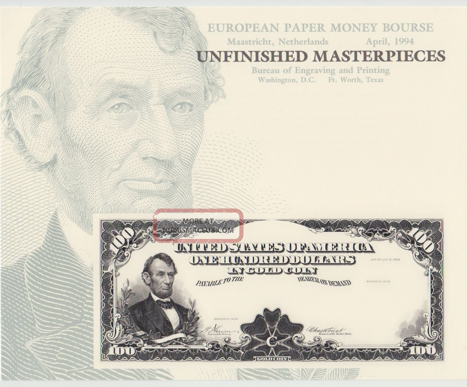 Bep Souvenir Card B183 European Paper Money Bourse $100 Gold Lincoln Paper Money: US photo