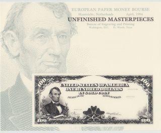 Bep Souvenir Card B183 European Paper Money Bourse $100 Gold Lincoln photo
