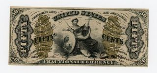 3rd Issue Fr.  1355 50c United States Fractional Currency Note W/ Justice Au photo