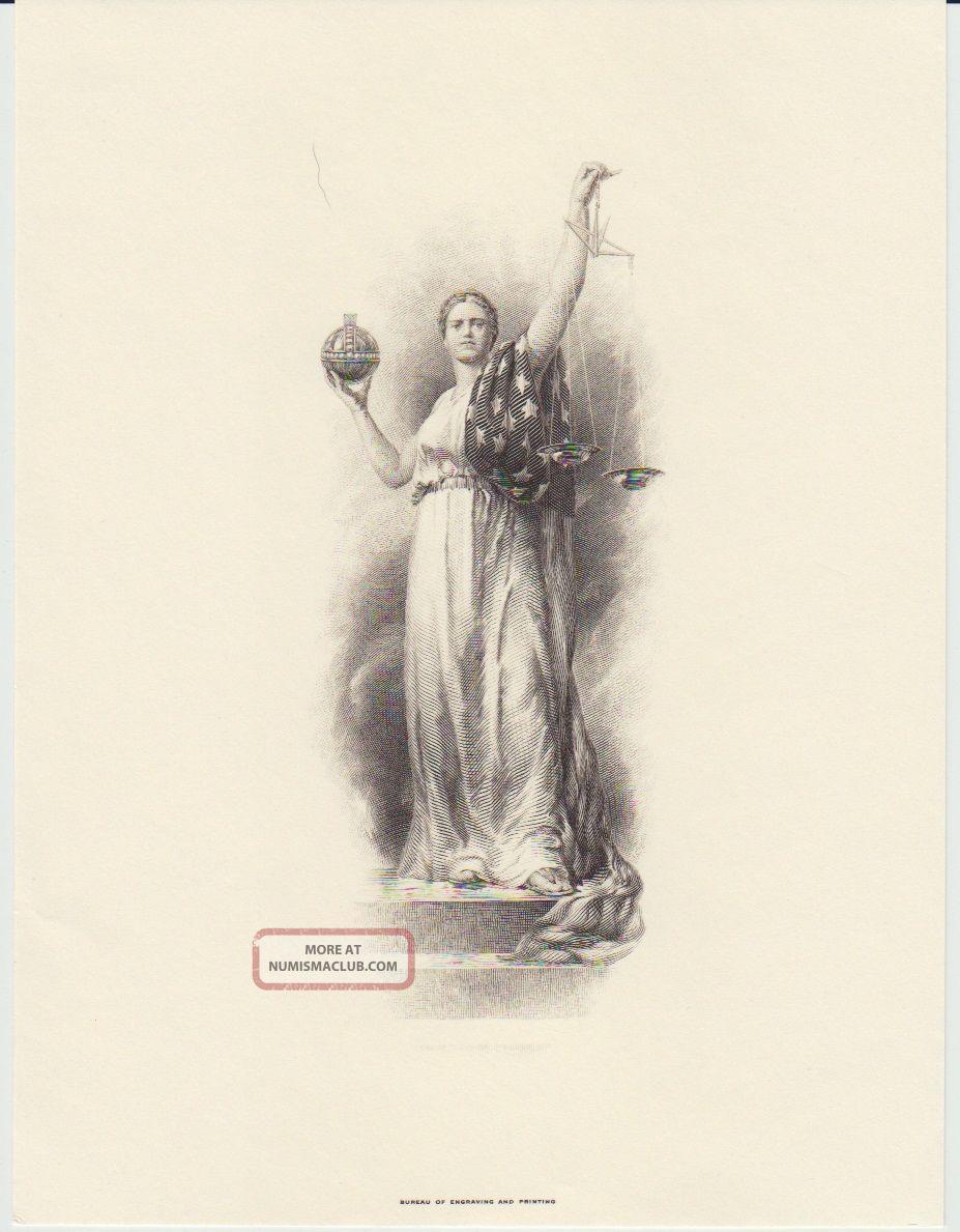 Bep Souvenir Card B180 Fun Intaglio Print Justice,  Info Card 1994 Paper Money: US photo