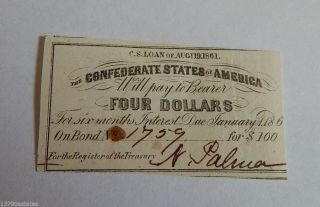 1861 Confederate States Of America $4 Four Dollar Bond Coupon photo