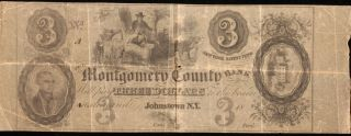 Obselete $3 Montgomery County Bank Note. photo