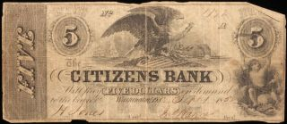 $5 Citizens Bank Note.  September 1 1852. photo