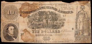 $10 Confederate States Of America Note.  September 2nd 1861. photo