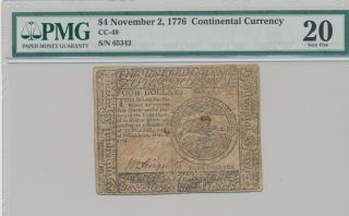 $4 November 2,  1776 Continental Currency - Pmg Certified - Very Fine 20 photo