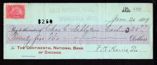 1899 Third National Bank - Springfield,  Mass - C/w Revenue Stamp photo