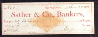 1878 Sather & Co. ,  Bankers - San Francisco - C/w Revenue Stamp photo