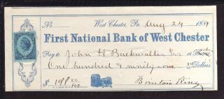 1881 First National Bank Of West Chester - West Chester,  Pa.  - C/w Revenue Stamp photo