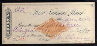 1883 First National Bank - Albia,  Iowa - C/w Rn - G1 Revenue Stamp photo