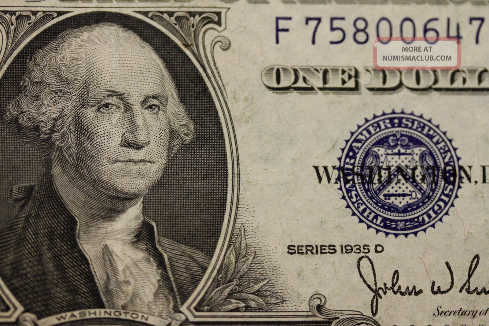 One Dollar 1935 E Silver Certificate About Uncirculated See