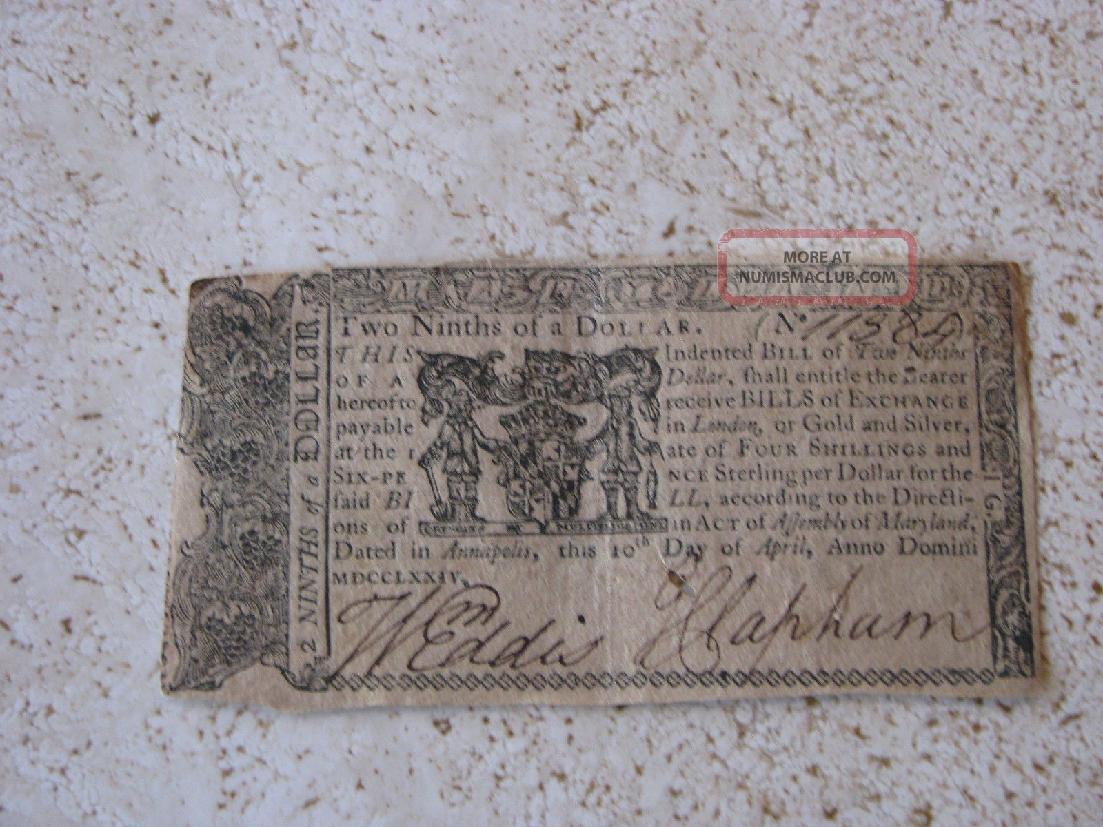Maryland Continental Currency - Two Ninths Of A Dollar From 1774 Paper Money: US photo