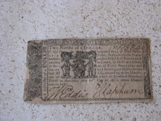Maryland Continental Currency - Two Ninths Of A Dollar From 1774 photo