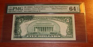 $5 1950a Frn San Francisco Offset Printing Error Pmg 64 Epq Choice Uncirculated photo