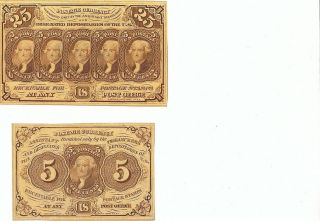 5 & 25 Cent Fractional Currency - Fr - 1281 & Fr 1230 - Choice Au photo