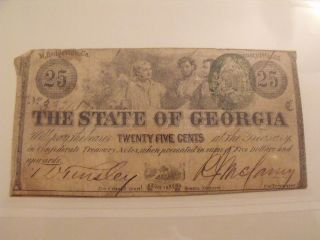 25 Cents State Of Georgia Green Seal - - Three Workers - - 1863 photo