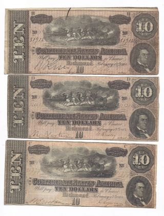 Solid Group Of Confederate Currency 1864 photo